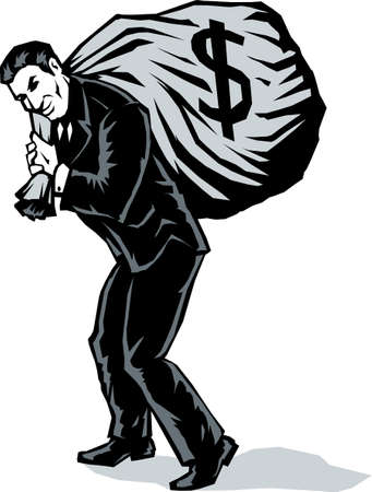 bank robber: Stylized Business man with bag Illustration