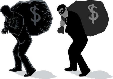 burglar: Due versioni di un uomo d'affari con il sacchetto.