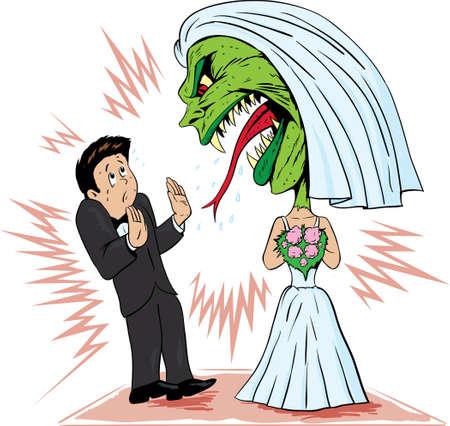 신부는 그녀의 남편에 탄도 것 일러스트