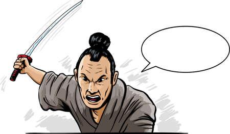 attacking: Samurai enojado  Vectores