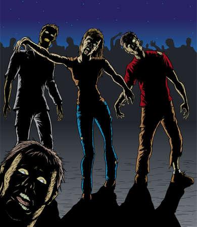 Una horda de zombies hambrientos. Con el vector, cada uno está en una capa separada.