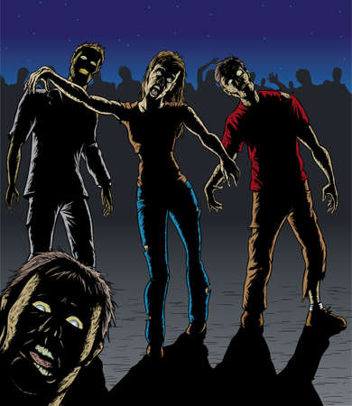 A horde of hungry zombies. With vector, each one is on a separate layer.  Illustration