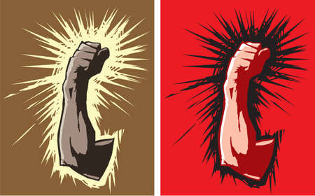 punching: Stylized drawings of a fist Illustration