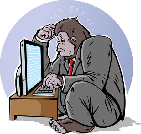 Confused business gorilla on computer Stock Vector - 10956495
