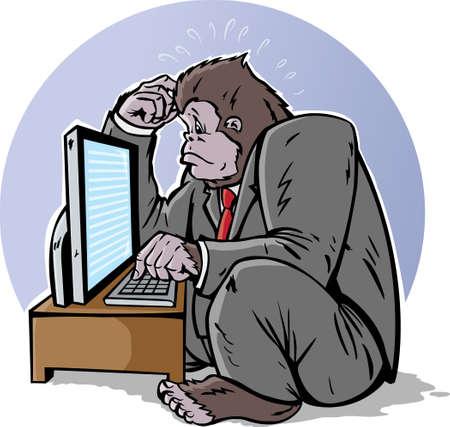 Confused zakelijke gorilla op de computer Stockfoto - 10956495
