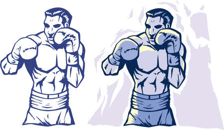 boxing sport: Drawing of a stylized boxer