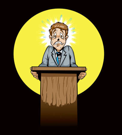 scared man: Scared public speakerpolitician  Illustration