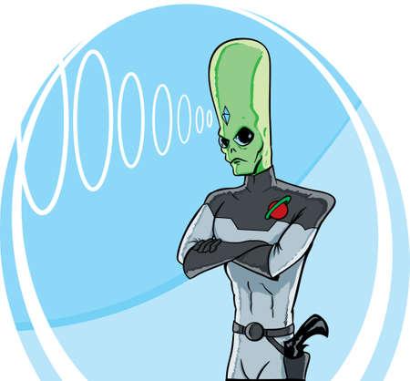 Stern alien using his telepathy.