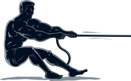 Outline of a strongman pulling a rope