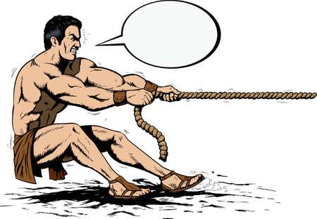 tug: Ercole tirando una corda Vettoriali