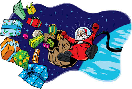 gift accident: Santa in space losing all his toys