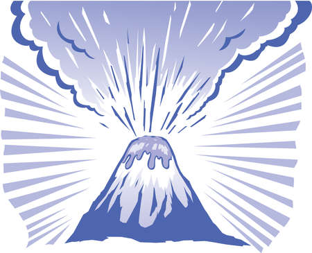 seeping: Volcano erupting in a stylized format.  Illustration