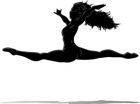 t�nzerinnen: Konturen einer T�nzerin Springen Illustration