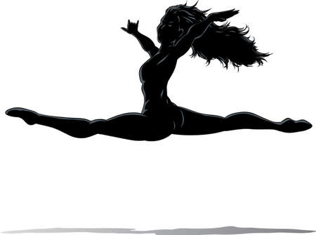 exotic dancer: Outline of a dancer jumping Illustration