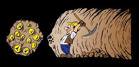 mining: Gold digger mining for gold Illustration