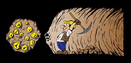 La minería de oro cavador de oro