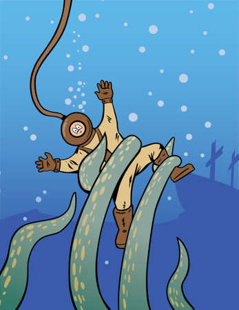 Deep sea diver being attacked by an octopus  Vector