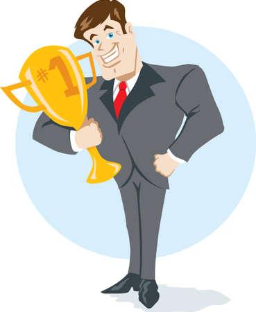 Business man met een trofee