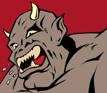 spitting: screaming demon who is terribly angry.  Illustration