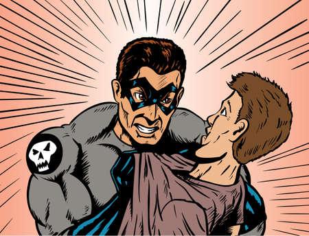 Angry superhero or villain angry at a guy