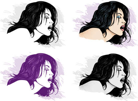 4 different versions of a girl's passionate face Stock Vector - 12017250