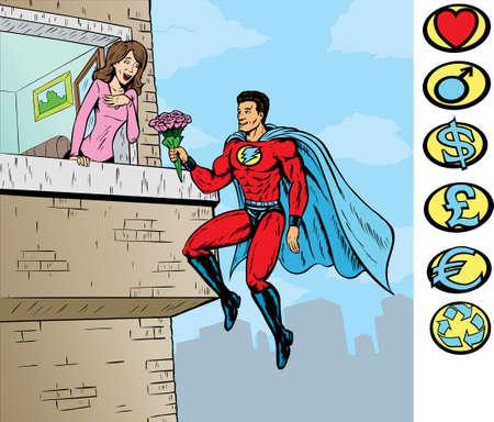 Super liefde, Superhero is op een aparte laag en kan worden verwijderd. Andere kammen kunnen ook worden gebruikt. Stock Illustratie