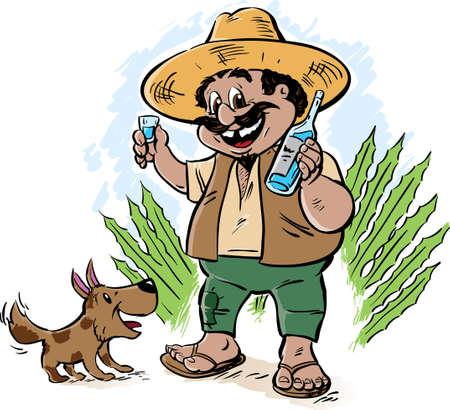 Mexican cartoon offering a shot Vector