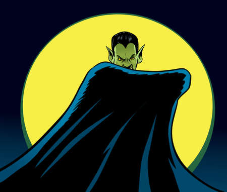cartoon vampire: Mysterious Dracula  Illustration