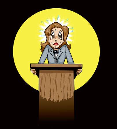 hablar en publico: Asustado orador p�blico  pol�tico Vectores