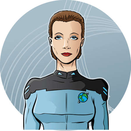 Futuristische vrouw als officier