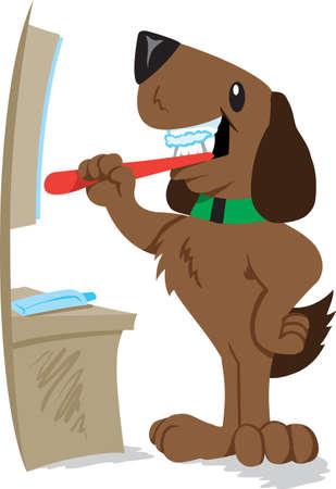 canines: Dog brushing his teeth  Illustration
