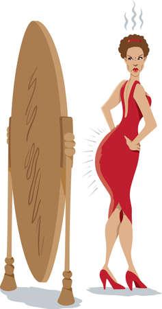 mirar espejo: Chica, que es perturbado por subir de peso Vectores