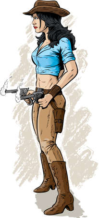 breast comic: Gunslinger  With vector, smoke is on a different layer so it can easily be removed  Illustration