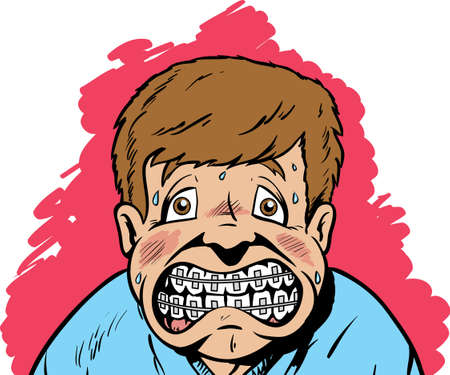 scared man: Kid unhappy for he has braces