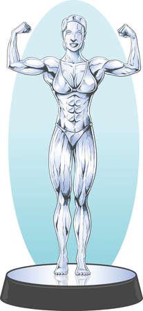Bodybuilder statue Illustration