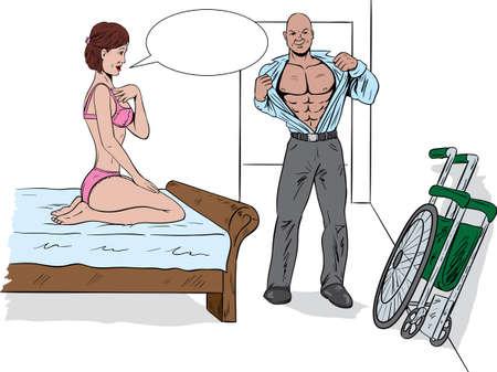 夫婦の寝室で