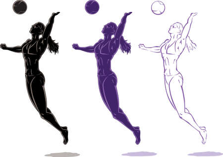 female athlete: Beach Volleyball player Illustration