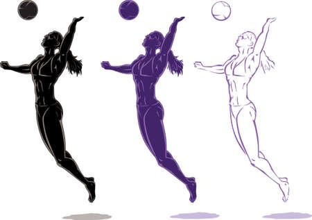 Beach Volleyball speler Stock Illustratie