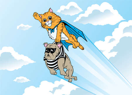 Superhero Kitty taking a bad dog to prison  Vector
