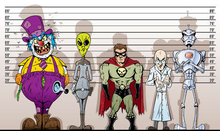 Super Villain line-up Stock Illustratie