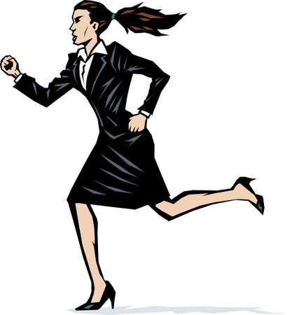 rushing: Stylized woman running