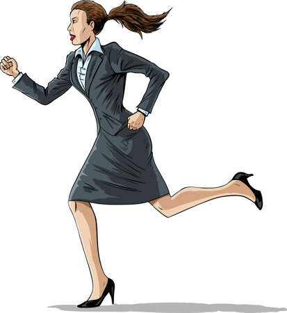 skirt suit: Business woman running