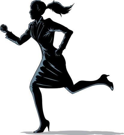businesswoman skirt: Chiaroscuro woman running  Illustration