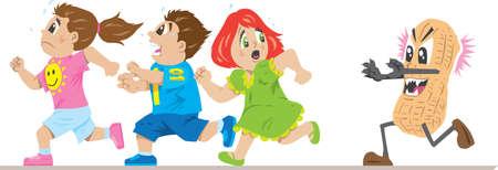 Scared children running from a peanut allergy