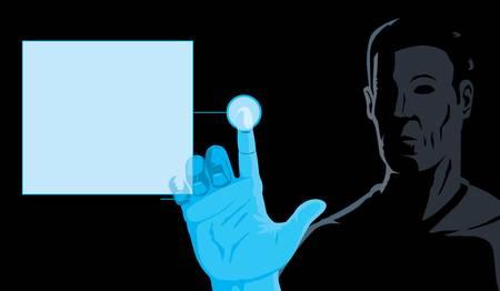 Man and computer  Illusztráció