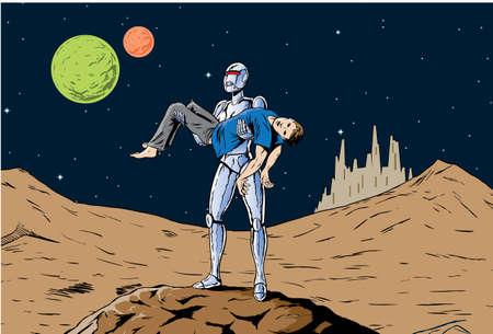 feministische: Robot meisje met af een man, een feministische hommage. Stock Illustratie