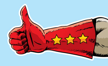 Superhero hand giving the thumbs up  Illustration