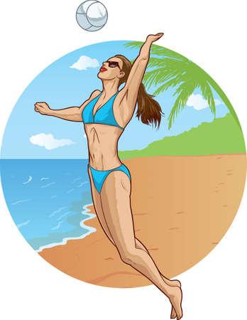 sexy bikini girl: Volleyball player