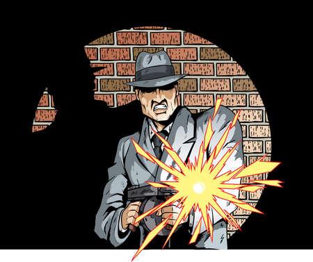 Strip tekening van een gangster met een machinegeweer
