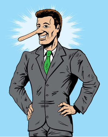 Lying salesman or businessman Vector